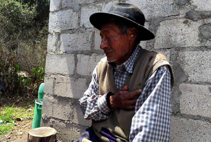 Humberto Moromenacho, 86, is one of just a few people still farming in the crater. He says his family has been farming in the crater for 300 years.