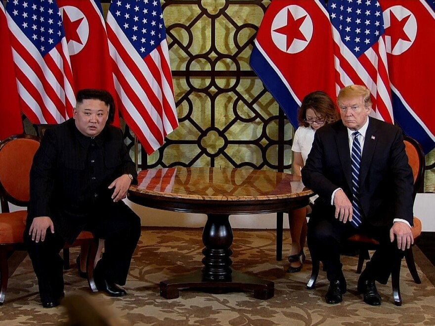 North Korean leader Kim Jong Un and President Trump, shown in a handout photo provided by the Vietnam News Agency, meet at the Sofitel Legend Metropole hotel on Thursday in Hanoi, Vietnam.
