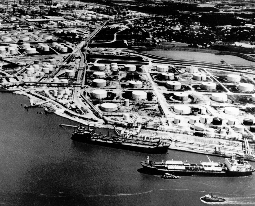 A black and white photo of Baytown in 1977.