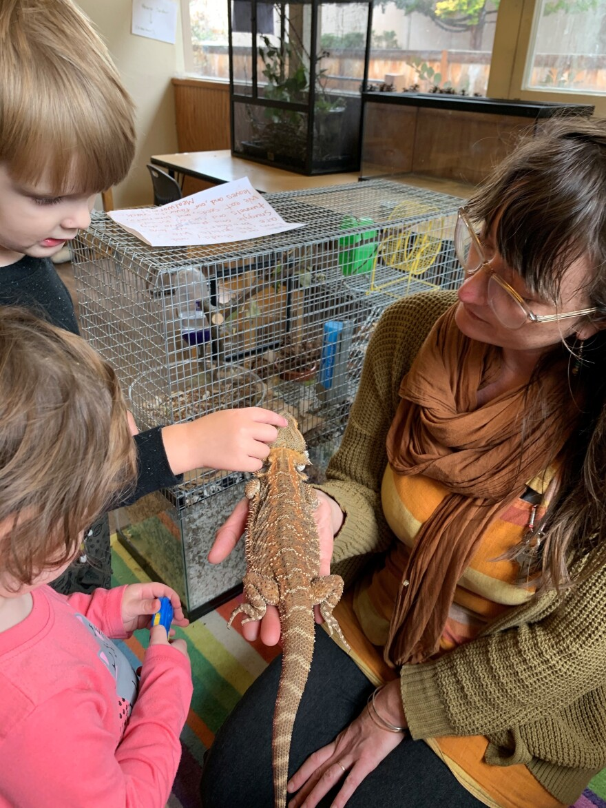 Lainy Morse shows students Wesley Schmidt and Celeste Abraldes a bearded dragon in a photo taken when school was open. Morse says that with unemployment benefits, she and her fellow teachers are making more now than they did on the job.