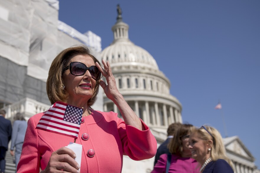 House Speaker Nancy Pelosi, shown outside the U.S. Capitol on July 25, has been working on legislation aimed at lowering the cost of prescription drugs, a rare shared priority with President Trump.