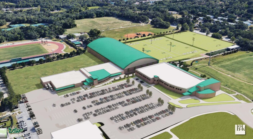 Aerial view of the new USF football practice facility, which would expand upon the current Morsani Football Practice Complex.