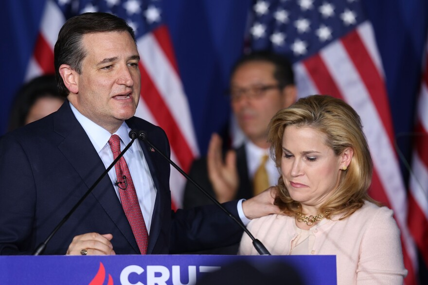 Sen. Ted Cruz, with his wife, Heidi Cruz, announces the suspension of his campaign during an election night watch party in Indianapolis.