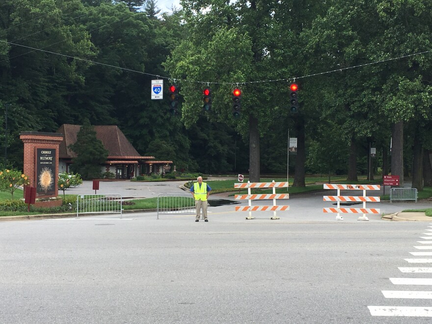 The main entrance to the Biltmore Estate was closed Wednesday, but an alternate entrance was open to keep the estate open to the public