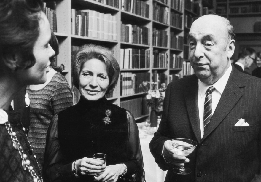 Chilean poet and diplomat Pablo Neruda in Stockholm with his wife Matilda after he received the Nobel Prize for literature.