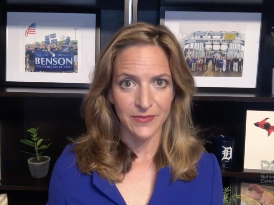 Michigan Secretary of State Jocelyn Benson addresses the virtual Democratic National Convention on August 20. The convention, which was once expected to draw 50,000 people to Milwaukee, Wisconsin, is now taking place virtually due to the coronavirus pandemic.