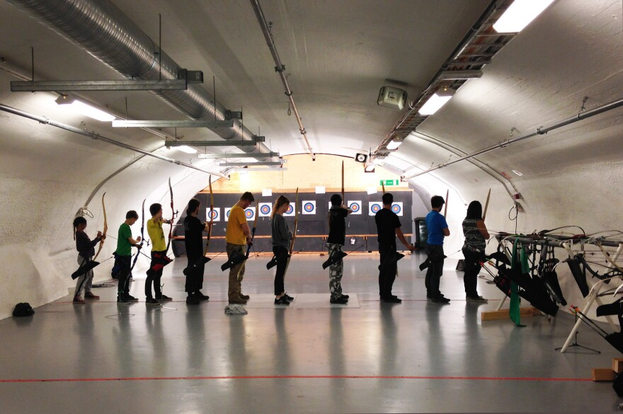 A Helsinki bomb shelter now serves as a shooting range for an archery club.