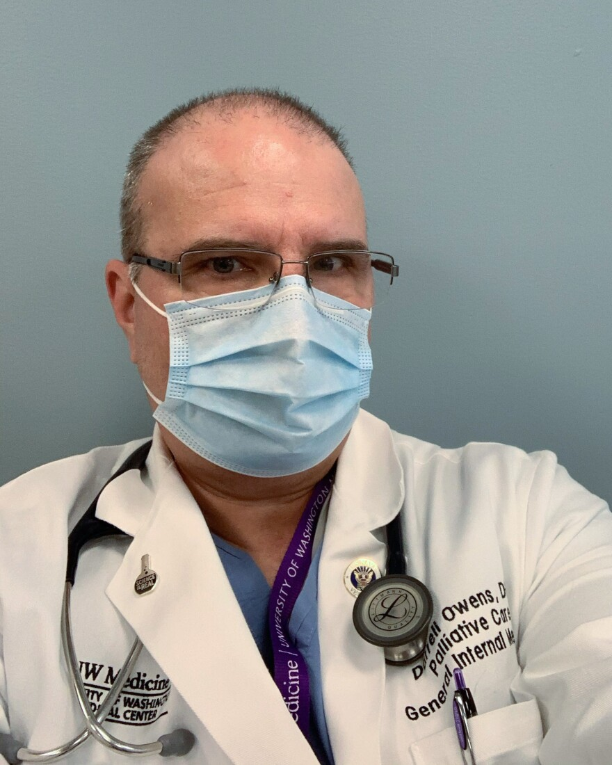 Darrell Owens, who directs palliative care at a University of Washington Hospital, says it's challenging to discuss end-of-life care with patients and family members over the phone or from behind protective gear.