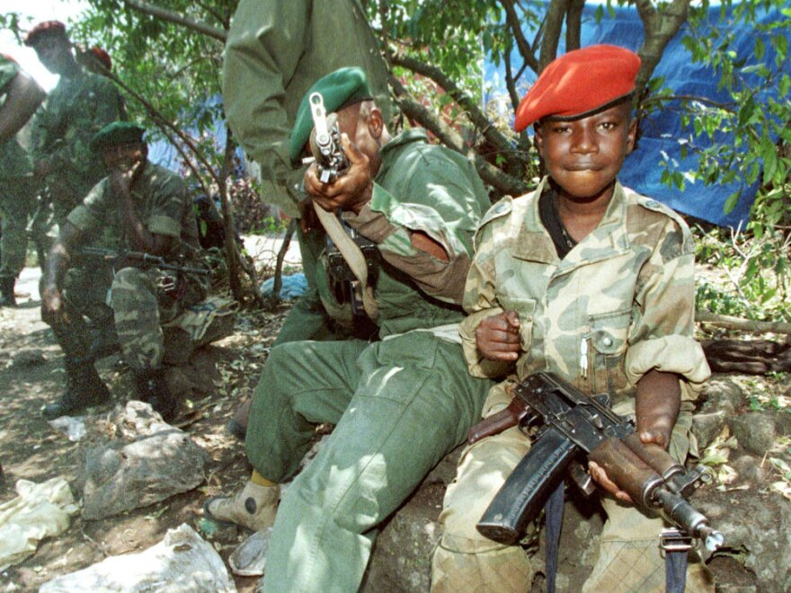 Two young  members of the rebels opposing  government forces of then-President Laurent Kabila are seen in Goma  before going to the front, Aug. 22, 1998.