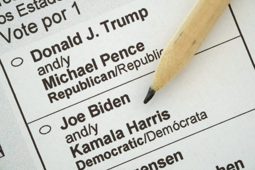 In this photo illustration a pencil lies on a U.S. presidential election mail-in ballot received by a U.S. citizen living abroad that shows current U.S. Republican President Donald Trump and his main contender, Democratic presidential candidate Joe Biden.(Photo by Sean Gallup/Getty Images)
