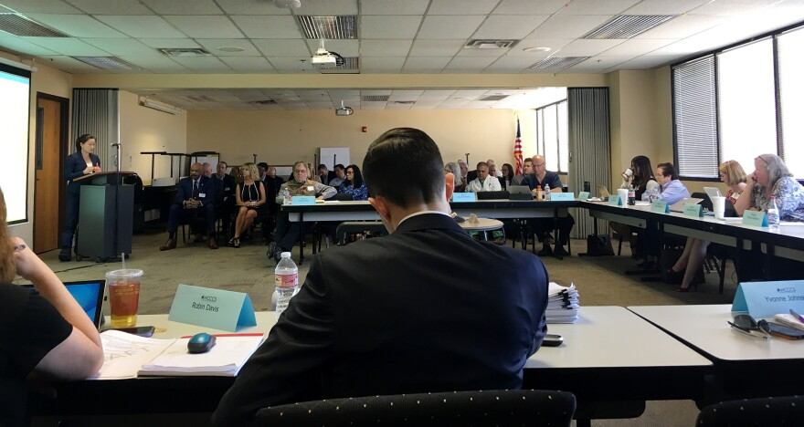 A representative for a pharmaceutical company speaks to an April meeting of the Arizona committee that helps the state's Medicaid agency make decisions about medications.
