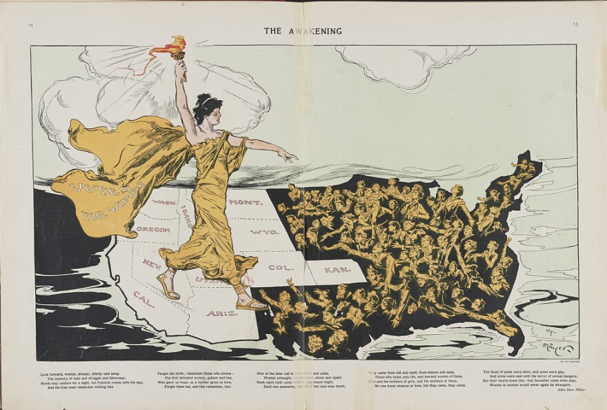 "This 1915 illustration by Henry Mayer of a torch-bearing female labeled ""Votes for Women,"" symbolizes the awakening of the nation's women to the desire for suffrage, striding across the western states, where women already had the right to vote, toward the east where women are reaching out to her."