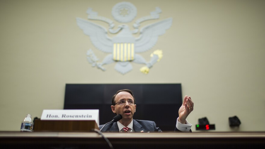 Rosenstein testifies at a House Judiciary Committee hearing in December 2017, during which he defended Robert Mueller.