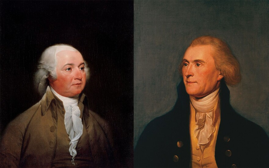 A painting of John Adams and Thomas Jefferson