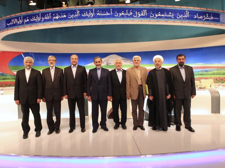 After a TV debate on May 31, presidential candidates at the time appear onstage: Saeed Jalili (from left), Gholam Ali Haddad Adel, Mohammad Bagher Qalibaf, Ali Akbar Velayati, Mohammad Gharazi, Mohammad Reza Aref, Hassan Rowhani, Mohsen Rezaei. Aref dropped out of the race on Tuesday.
