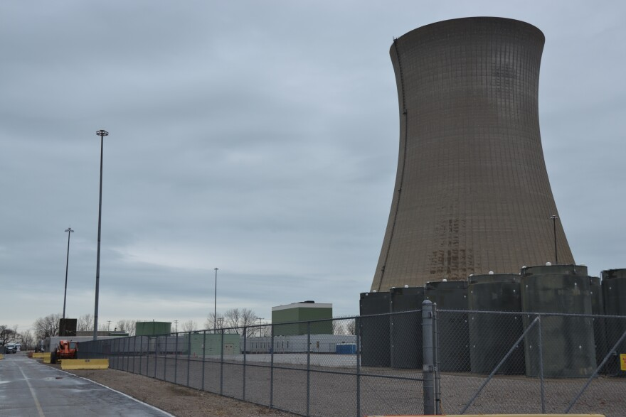 A photo of a nuclear cooling tower