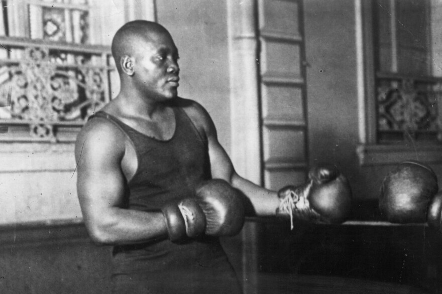 American heavyweight boxer Jack Johnson in action sparring. (Topical Press Agency/Getty Images)
