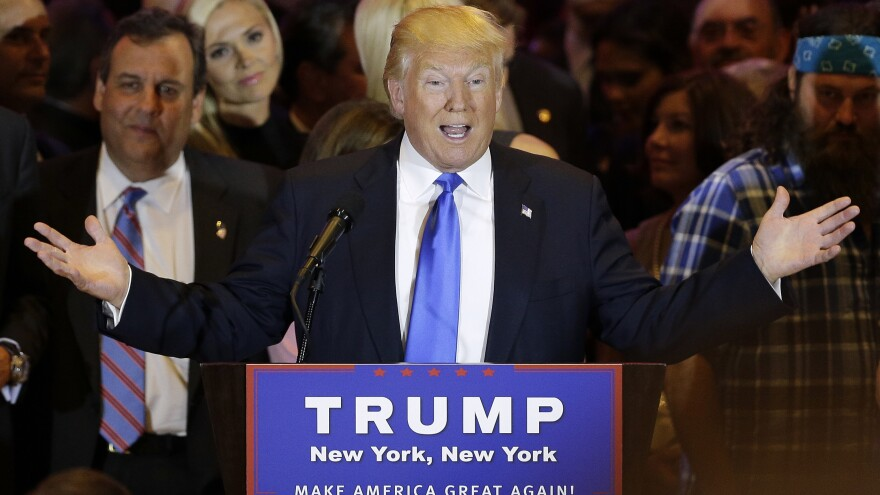 Republican presidential candidate Donald Trump speaks during a primary night news conference Tuesday in New York City.