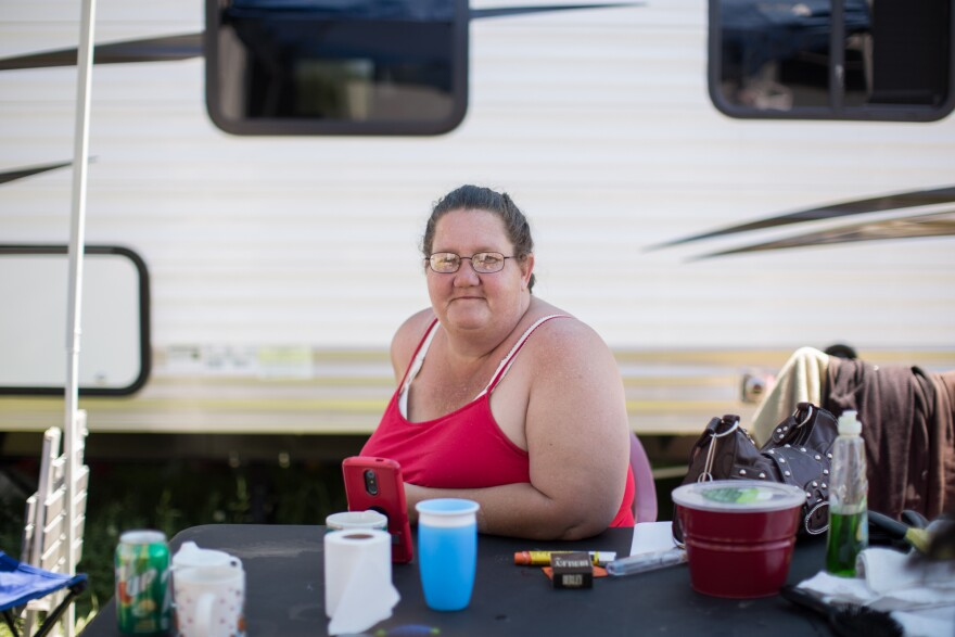 Dominica Sprague has been living with her family in a camper at the Yuba-Sutter Fairgrounds, in Yuba City, Calif.