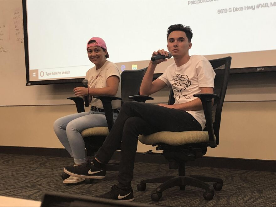 David Hogg and Emma Gonzalez speak at USF College of Public Health.