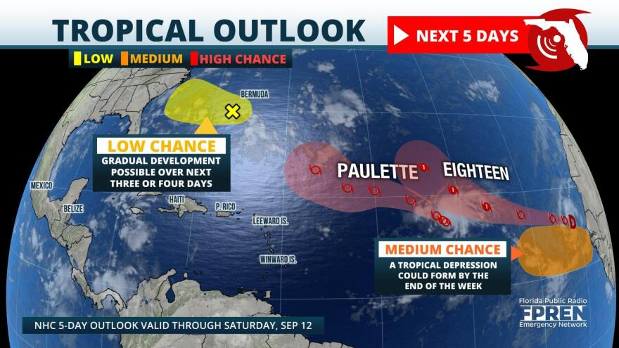 Tropical Storm Paulette, Tropical Depression 18, and other areas of potential development in the Atlantic Basin.