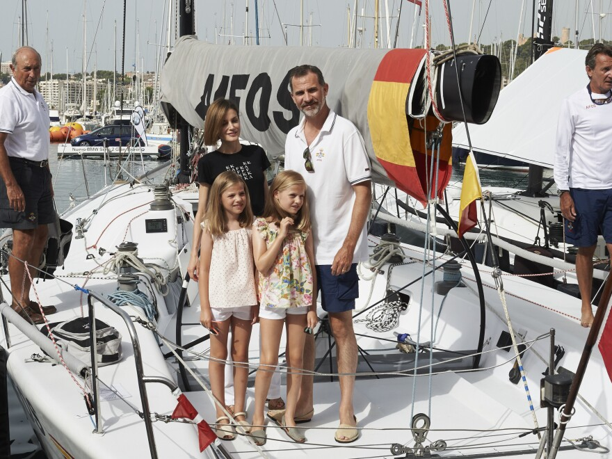 Spain's King Felipe VI, Queen Letizia and daughters Princess Leonor (right) and Princess Sofia (left) attended the Royal Cup yacht race last August in Mallorca.