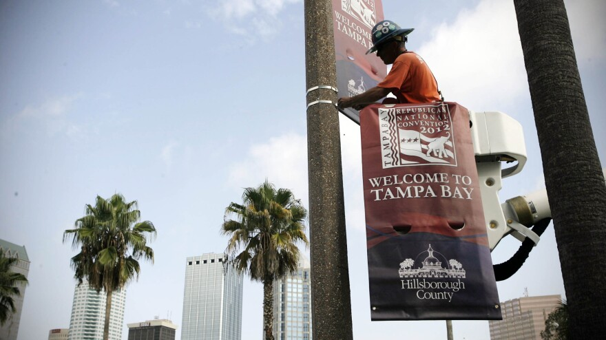 The Tampa Bay Host Committee for the Republican National Convention began installing banners on Wednesday.