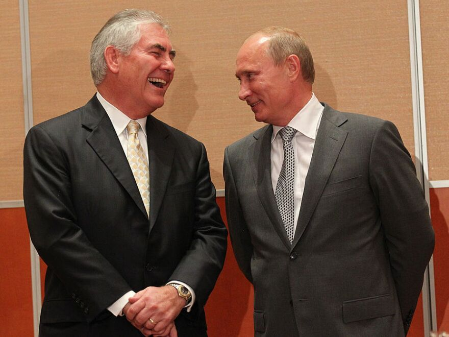 Russian President Vladimir Putin and Rex Tillerson, chairman and CEO of Exxon Mobil during a signing ceremony for an arctic oil exploration deal between Exxon Mobil and Rosneft in August 2011.