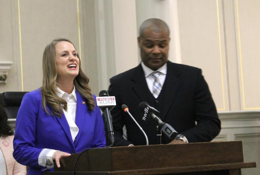 Freshmen Democratic Arkansas state Representatives Megan Godfrey of Springdale and Jay Richardson of Fort Smith give the party's response to Gov. Asa Hutchinson's State of the State address Tuesday.
