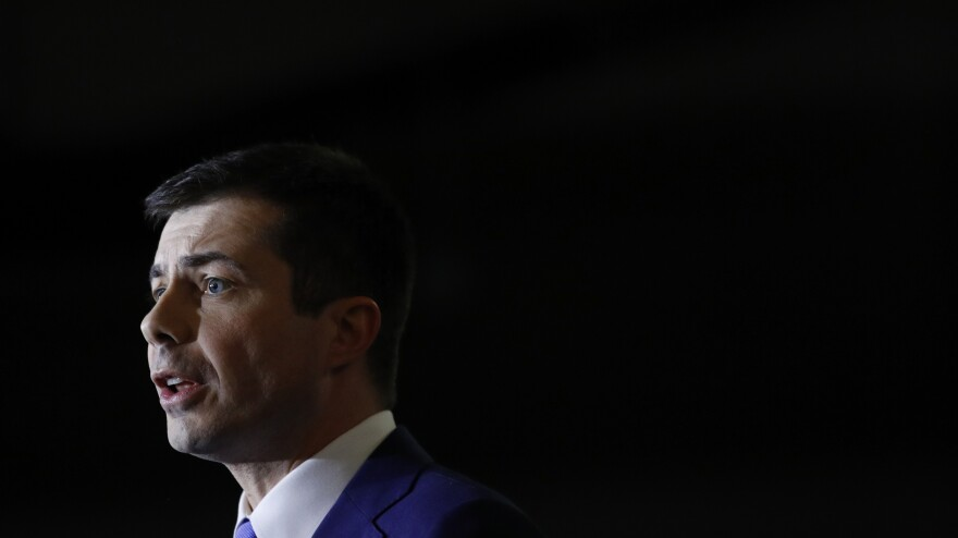 At a caucus night event Saturday in Las Vegas, former South Bend, Ind., Mayor Pete Buttigieg warns against rushing to nominate Sen. Bernie Sanders.