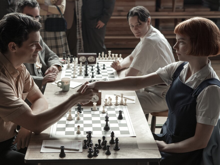 Beth (Anya Taylor-Joy) destroys an opponent (Jacob Fortune-Lloyd) in the Netflix chess drama, <em>The Queen's Gambit.</em>
