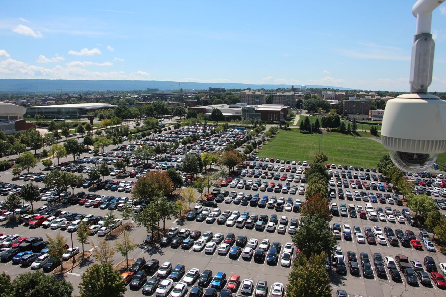 From the top of Beaver Stadium, one of the biggest stadiums in the world, it's possible to see just part of Penn State's central campus in State College, Pa.