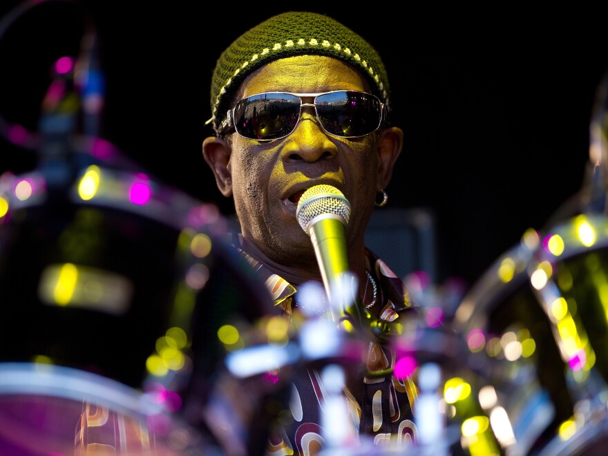 Drummer Tony Allen, performing at the Glastonbury Festival in England in 2010. Allen died Thursday at age 79.