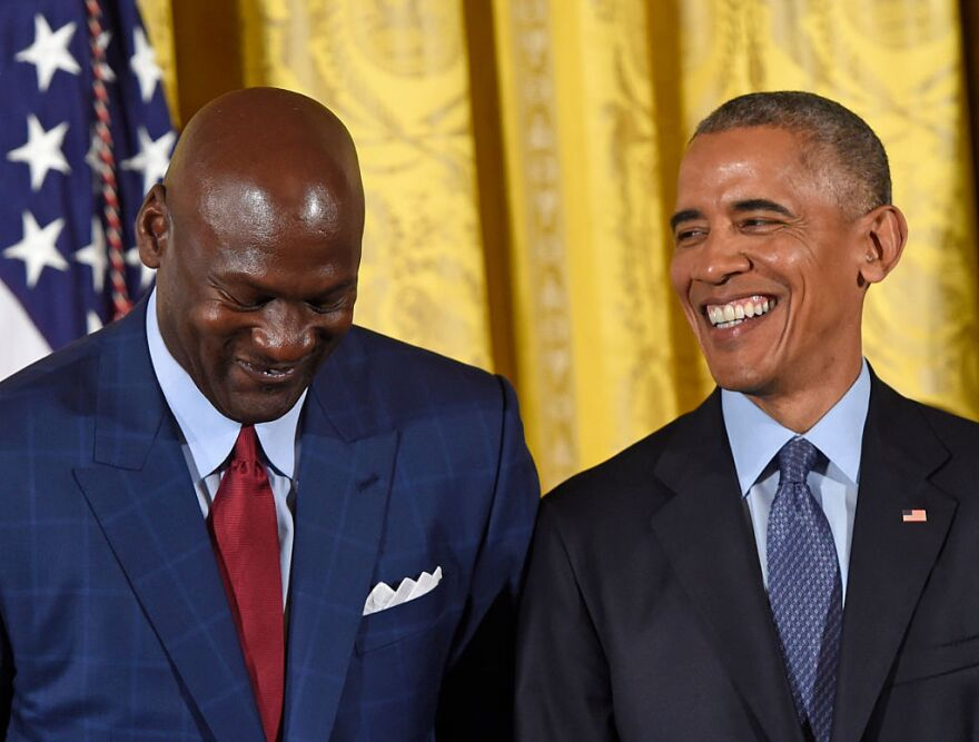 U.S. President Barack Obama and NBA athlete Michael Jordan share a smile during the presentation of the Presidential Medal of Freedom, the nation's highest civilian honor, in the White House last month.