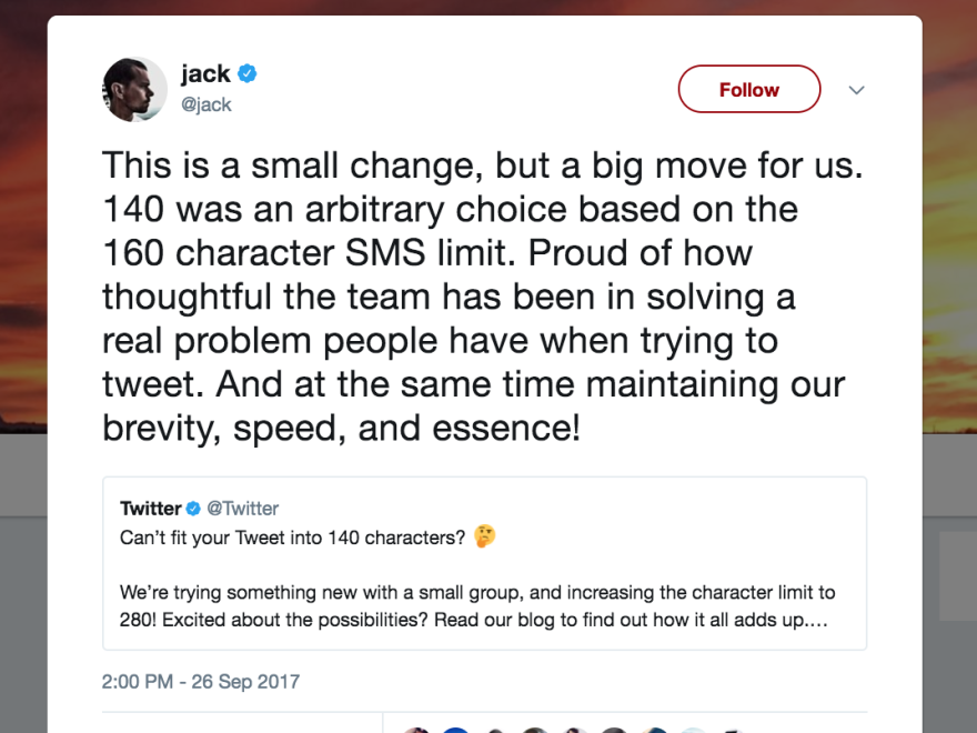 Twitter co-founder Jack Dorsey demonstrated the platform's new 280-character tweets. But many users worry that longer posts will rob the service of its distinctive pithiness.
