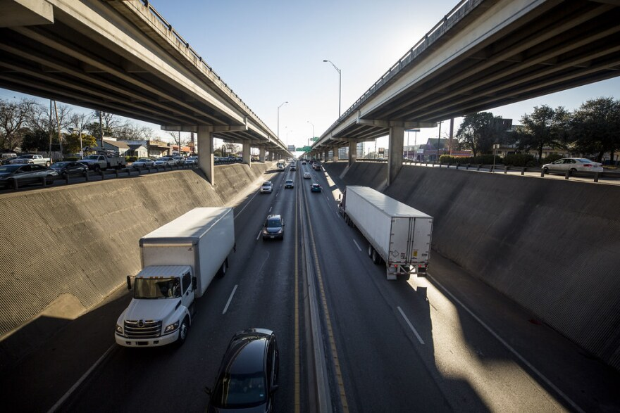 Traffic on the double-decker portion of I-35 through downtown Austin.