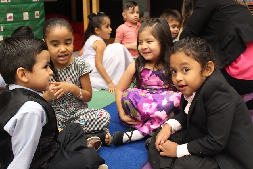 Dual language preschool students Luis Robledo, Aiyana Carpenter, Emily Carrasco and John Paul Cabrera practice speaking in Spanish at SAISD's Beacon Hill Academy on May 23, 2019.