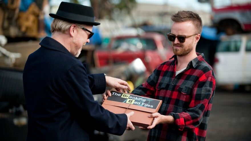 Adam Savage and Aaron Paul trade some information on Monday night's <em>Mythbusters</em>.