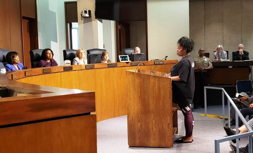Tashonda Troupe, whose son Lamar Catchings died in the St. Louis County jail in March, addresses the St. Louis County Council on April 23, 2019.