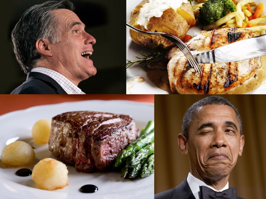 Each candidate chose a meat and potatoes dinner before the debate.