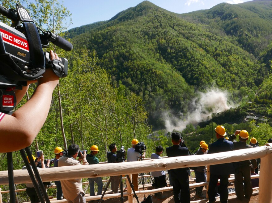 North Korea invited foreign press to watch as it demolished tunnel entrances to its nuclear test site at Punggye-ri in 2018.