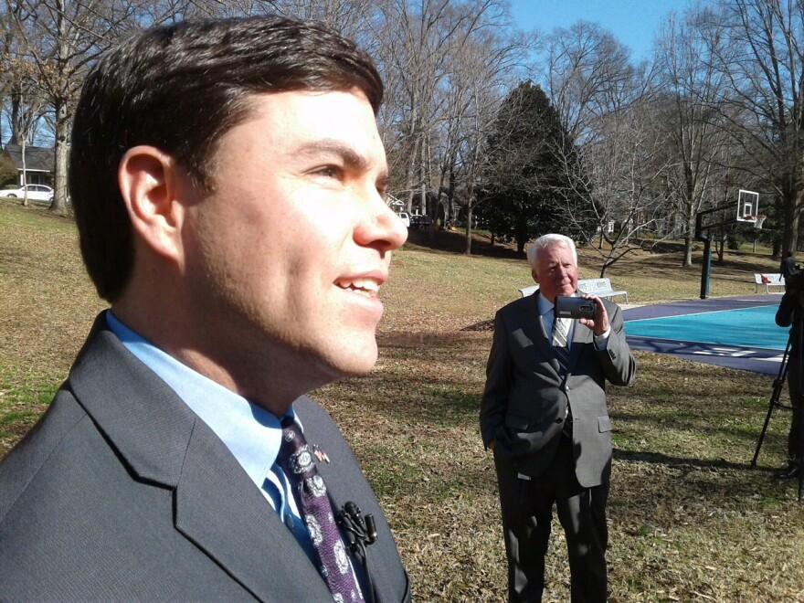 North Carolina Superintendent of Education Mark Johnson speaking in Charlotte, February 8, 2018.