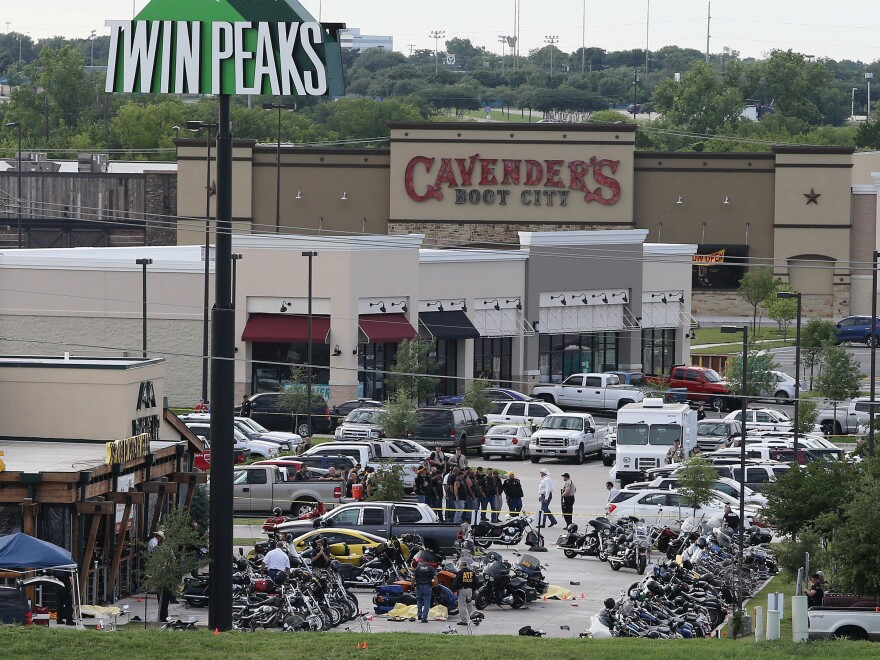 Prosecutors in McLennan County, Texas, said that all remaining charges related to the deadly melee between rival motorcycle gangs outside a Waco restaurant in May 2015 would be dropped. The aftermath of the shooting is seen here.