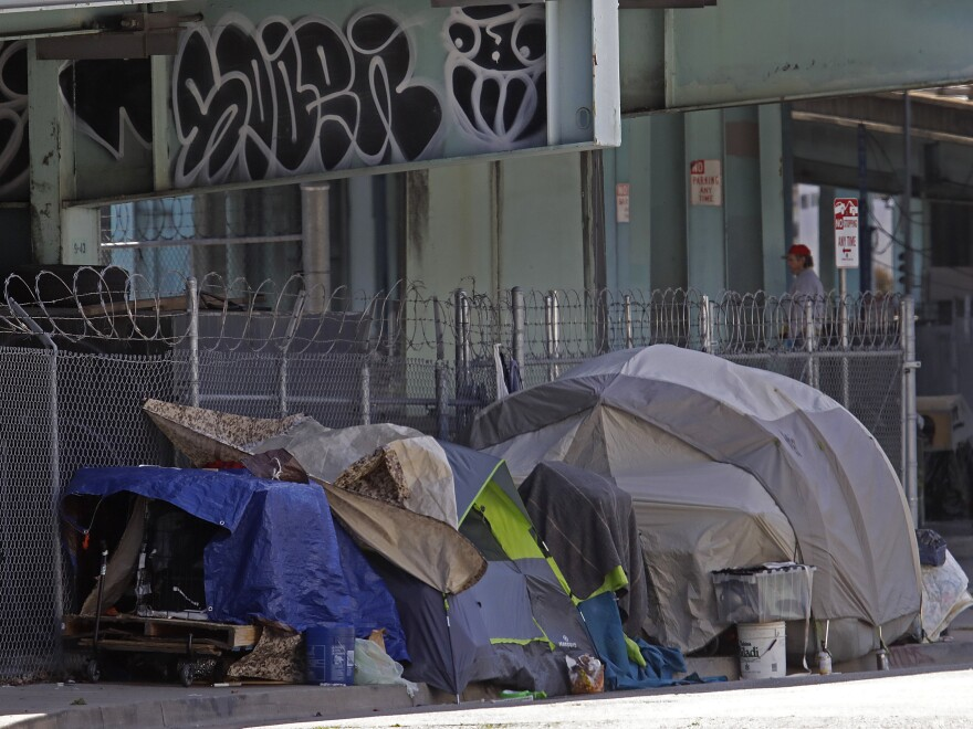 A homeless encampment seen on Monday in San Francisco. City lawmakers are demanding that the mayor step up efforts to house the city's homeless population to protect them from COVID-19.