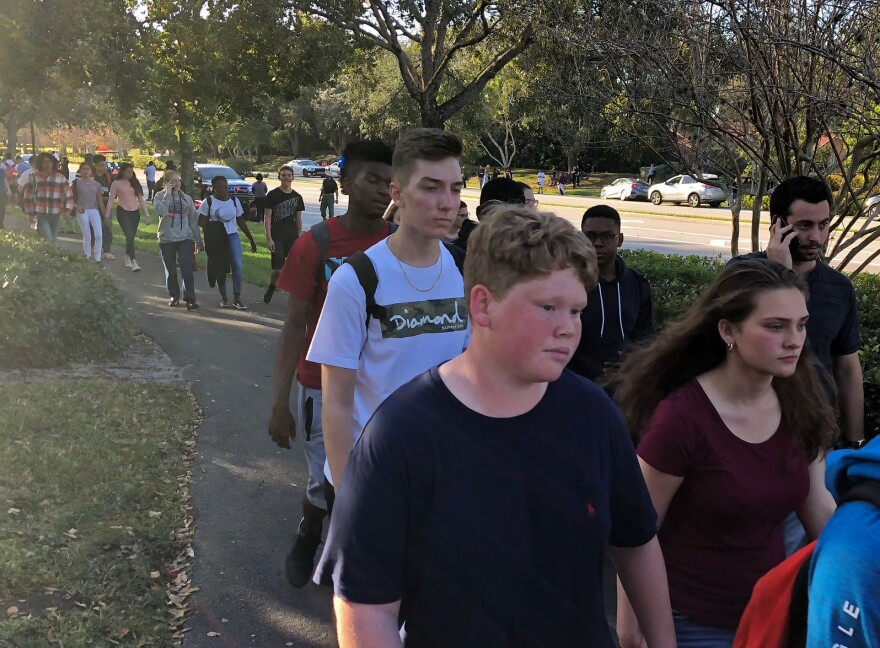 Students leaving the school.