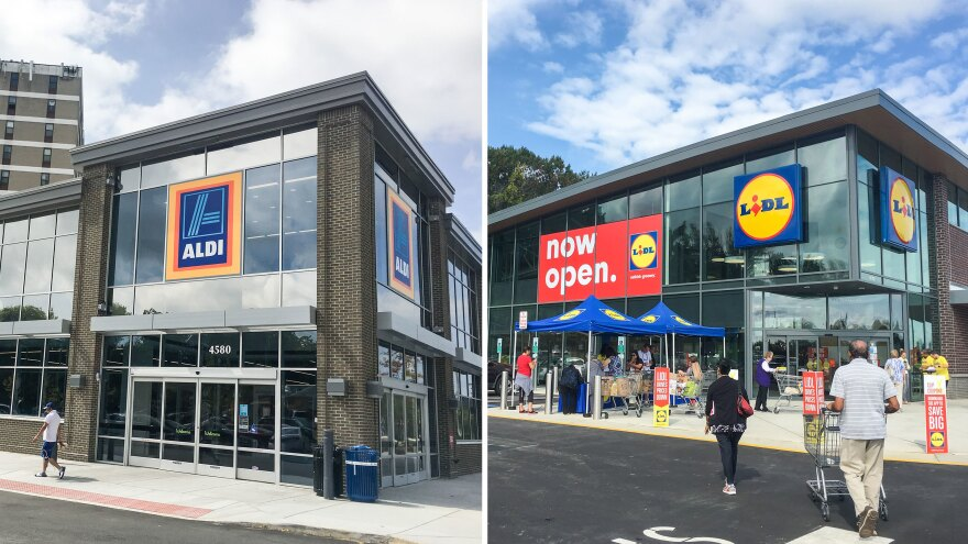 German grocers Aldi and Lidl are aggressively growing their U.S. footprint. Aldi, which aims to have 2,500 stores by 2022, has recently renovated this store (left) in Alexandria, Va. And Lidl's new location in Manassas, Va., was its 30th in the country.
