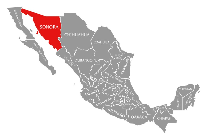 Map highlighting Sonora, Mexico in the Northwestern corner of the country, between Baja California and Chihuahua.