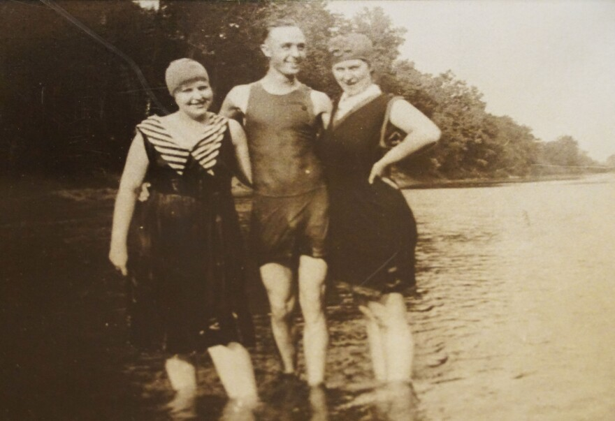 A group of summertime visitors take a break from swimming in the Meramec River to pose for a photo. The area now home to Castlewood State Park was once a bustling summer resort destination in the early 1900s.