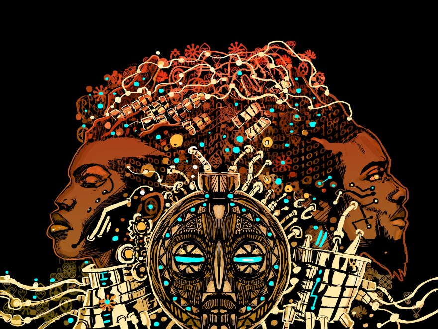"John Jennings is a graphic desinger and the co-founder of the Black Speculative Arts Movement. He designed the cover for ""Afrofuturism 2.0: The Rise of Astro-Blackness."""
