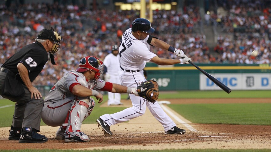 Detroit Tigers shortstop Jhonny Peralta bats during the sixth inning against the Washington Nationals on Tuesday. Detroit fans watching game had the option of tuning in to a broadcast that lacked announcers, featuring only the sounds from the stadium.